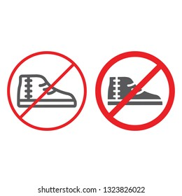No footwear line and glyph icon, prohibited and forbidden, no shoes sign, vector graphics, a linear pattern on a white background, eps 10.