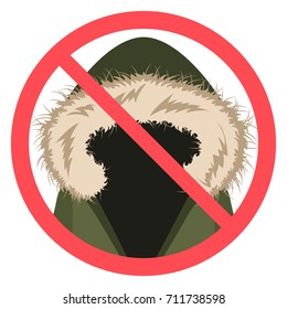 No fur sign in vector flat design icon