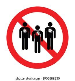 No gathering sign. Corona Virus. Black. Vector illustration