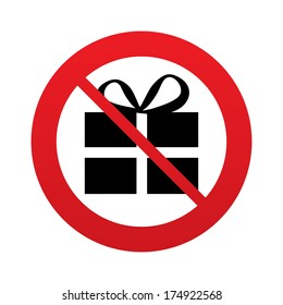 No Gift box sign icon. Present symbol. Red prohibition sign. Stop symbol. Vector