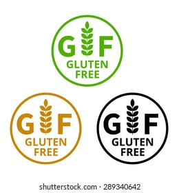 No gluten / free food label or sticker flat vector icon