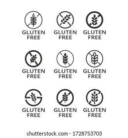 No gluten on food labels for packaging or ingredients. Food dietary label for product. No wheat symbol of allergen. Isolated gluten free icon set. Vector illustration.Design on white background. EPS10