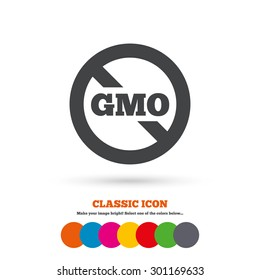 No GMO sign icon. Without Genetically modified food. Stop GMO. Classic flat icon. Colored circles. Vector