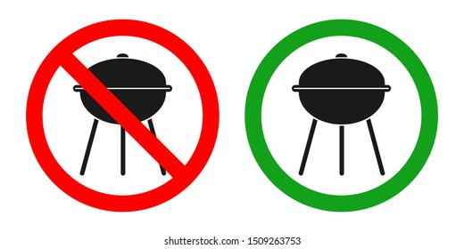 NO GRILL ZONE sign. BARBECUING AREA sign. Vector.