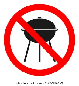 NO GRILL ZONE sign. Vector.