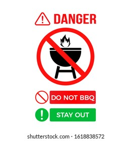 No grill zone symbol. No bbq allowed. Do not BBQ – Stay out. Vector warning banner for public places, beaches, outdoors, parks, forests. Eps 10 vector illustration.