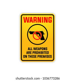 No guns firearms or weapons sign vector set