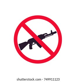 no guns sign with automatic rifle
