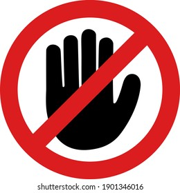 No hand icon with flat style. Isolated vector no hand icon image, simple style.