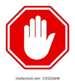 No hand sign on white background. Red stop sign for prohibited activities.
