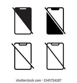 No handphone sign , icon set design