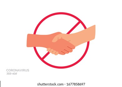 No handshake. Do not contact. Red prohibition sign. Precautions and prevention of coronavirus disease. Warning, dangerous infection on hands. Flat cartoon colorful vector illustration.