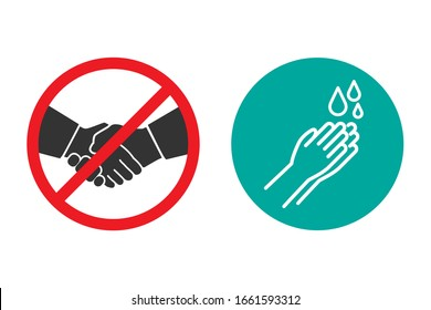 No handshake and hand washing icons in a flat design