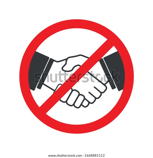 No handshake icon with red forbidden sign, avoiding physical contact and corona virus infection
