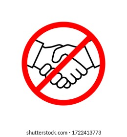 No handshake icon vector illustration. Stop contact. No deal. No physical contact. Prevention of coronavirus disease