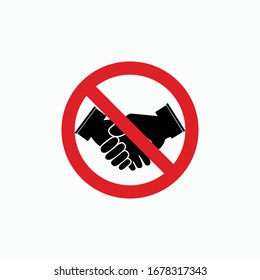 no handshake sign icon vector isolated