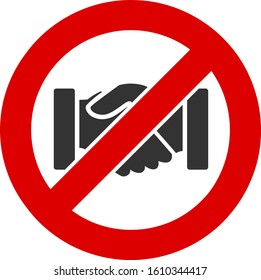No handshake vector icon. Flat No handshake pictogram is isolated on a white background.