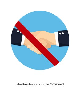No handshake for virus in a flat design. Vector illustration icon
