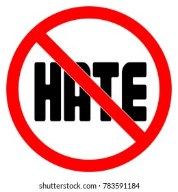 No HATE sign vector illustration