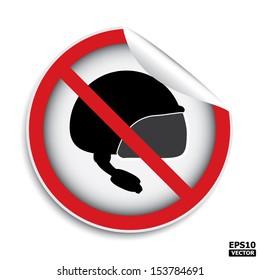 No helmet area sign.-eps10 vector