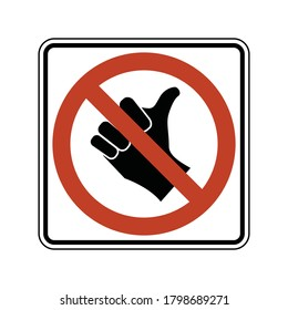 No hitchhiking road sign. Vector illustration of no hitch-hiking allowed traffic sign. Prohibit standing in roadway for the purpose of soliciting ride. Crossed hand in red restriction circle symbol.