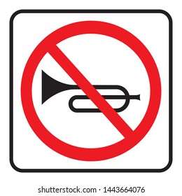 No Horn traffic sign. No honking here. Vector illustration