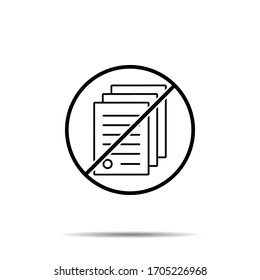 No house, contract icon. Simple thin line, outline vector of real estate ban, prohibition, embargo, interdict, forbiddance icons for ui and ux, website or mobile application