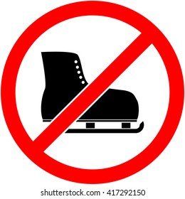 No ice skate, ice-skate, ice-skating and skating prohibited symbol. Sign indicating the prohibition or rule. Warning and forbidden. Flat design. Vector illustration. Easy to use and edit. EPS10.