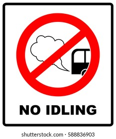 No idling or idle reduction sign on white background. vector illustration. turn engine off. prohibition symbol in red circle isolated on white