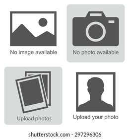No image available or Picture coming soon. Set of pictures means that  no photo: blank picture, camera, photography icon and silhouette of a man. Missing image sign or uploading pictures. Vector.