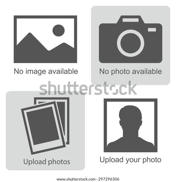 Изображение не доступно или изображение скоро. Набор картинок означает, что нет фото: пустое изображение, фотоаппарат, значок фотографии и силуэт человека. Отсутствует знак изображения или загрузка изображений. Вектор.