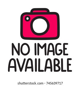 No image available. Vector hand drawn illustration with camera icon on white background.