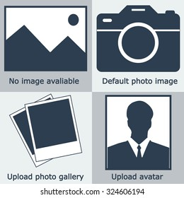 No image or photo available icon. Dark flat blue profile blank picture, camera, default photography, download avatar. Vector logo illustration.