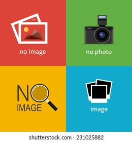 No image signs for web page. Internet icon to indicate the absence of image until it will be downloaded.