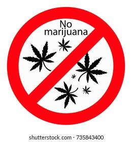 no inscription marijuana,marijuana leaf,red sign on white background,vector