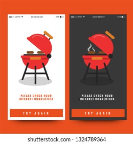 No Internet Connection Page Interface Design with Barbeque Vector Illustration