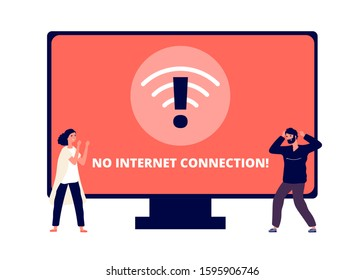 No internet connection. Wireless connectivity disconnect, error connection wifi. Annoyed people and unpluged computer vector illustration