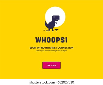 No Internet Webpage design concept. Vector illustration concept of the pixelated dinosaur icon. Web Page not loading/opening