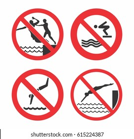 No jump sign vector design for advertising in luxury hotel, resort