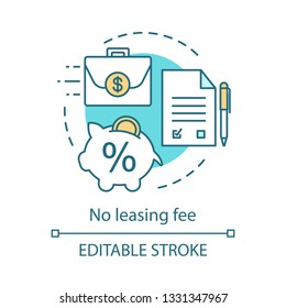 No leasing fee concept icon. Rent free period. Contract, pen, piggy bank, briefcase with money. Investment bank deposit idea thin line illustration. Vector isolated outline drawing. Editable stroke