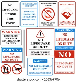 No Lifeguard on Duty Signs Set. Vector