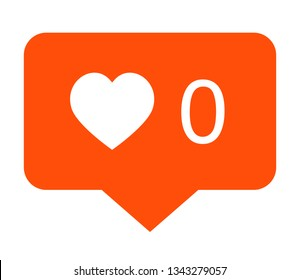 No likes icon. Vector icon of social media notification about no likes