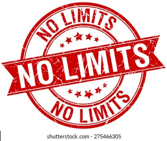 no limits grunge retro red isolated ribbon stamp