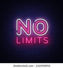 No Limits Neon Text Vector. No Limits neon sign, design template, modern trend design, night neon signboard, night bright advertising, light banner, light art. Vector illustration