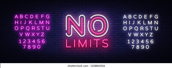 No Limits Neon Text Vector. No Limits neon sign, design template, modern trend design, night neon signboard, night bright advertising, light banner, light art. Vector. Editing text neon sign