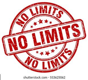 no limits. stamp. red round grunge vintage no limits sign
