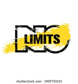 No Limits. Strong Workout Gym Distressed Motivation Banner Concept Print on Grunge Background