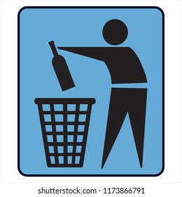 No litter or separately recycle bin sign
