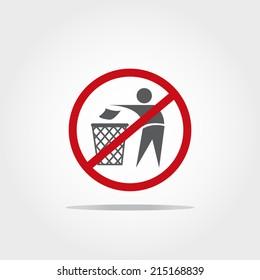 No littering icon on white backgroun