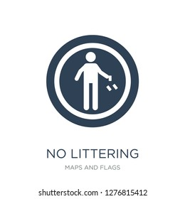 no littering icon vector on white background, no littering trendy filled icons from Maps and Flags collection, no littering vector illustration